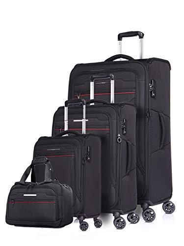 ABISTAB Verage Weichgepäck Stoff-Koffer-Set Toledo 4 teilig mit großem Koffer Kabinentrolley und Handgepäck Reise-Tasche, 4 Räder TSA-Schloss erweiterbar,...