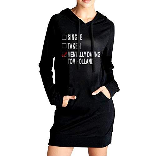Not Dating Tom Holland Frauen Pullover Hoodie Kleid Mode lässig Lange Hoodie Sweatshirts M