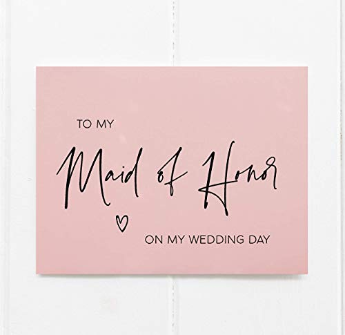 To My Maid of Honor on My Wedding Day Card, Thank You Cards, Bridal Party Gifts From Bride, Blush Pink