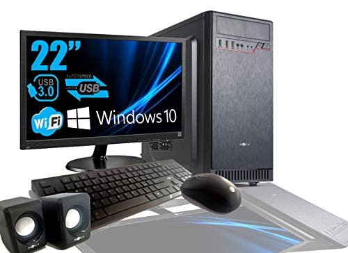 "PC DESKTOP INTEL QUAD CORE 2.0GHZ WINDOWS 10 PROFESSIONAL 64 BIT CASE ATX/RAM 8GB/HD 1TB/WIFI/HDMI DVI VGA POWER 500W + MONITOR 22"" LED VGA TASTIERA E MOUSE USB CASSE AUDIO COMPLETO"