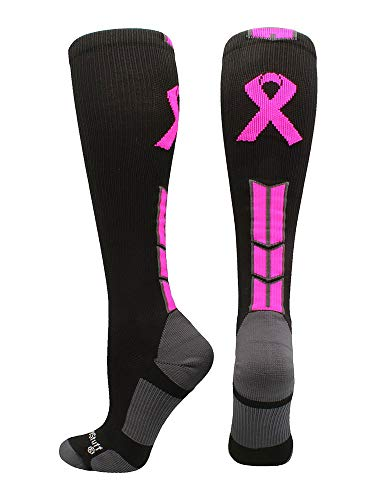 MadSportsStuff Triumph Pink Ribbon Awareness OTC Socks (Black/Neon Pink, Large)