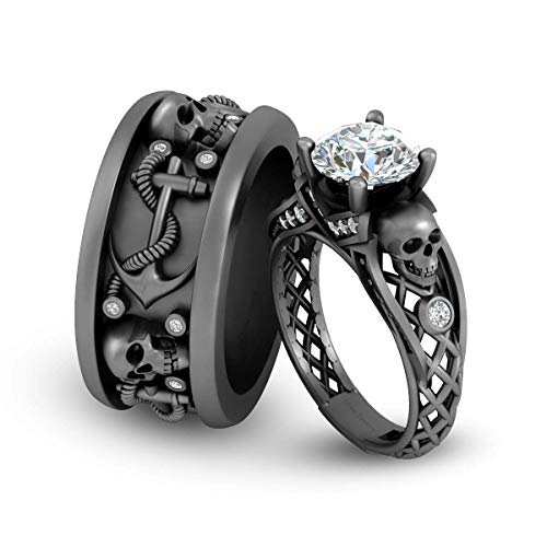 Juego de alianzas de boda para él y ella, diseño de calavera de malla, anillo para parejas, metal y oro blanco sólido de 10 quilates
