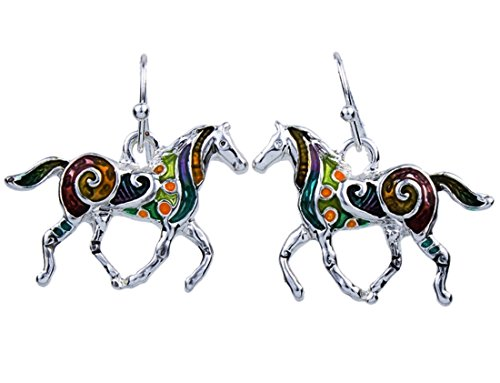 """DianaL Boutique Multicolor Hand Painted Enameled Horse Earrings, 0.75"""" drop"""