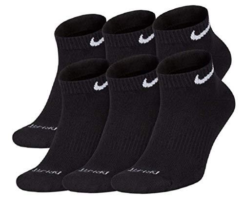 Nike Dri-Fit Training Everyday Plus MAX Cushioned Low-Cut Ankle Socks 6 Pair Black White Swoosh Logo Large 8-12