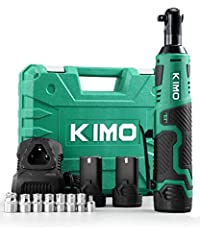 【Eliminate Cords & Loud Air Hose】With a max torque of 40 ft-lbs at 400 RPM and a variable speed trigger, KIMO Cordless Ratchet performs just like your air ratchet but without the annoying cords and the constant loud noise from the air hose. 【Compact ...