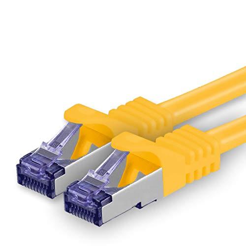 1aTTack.de Cat.7 Cavo di Rete 2m - Giallo - 1 Pezzo - Ethernet LAN Cat.7 SFTP PIMF LSZH Spina RJ45 Cat6a 10 Gbit s