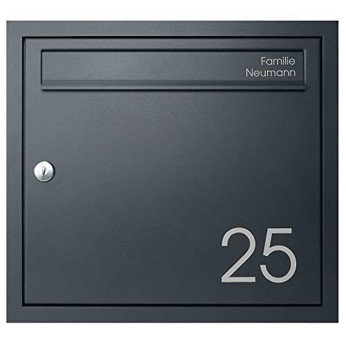 Unterputz-Briefkasten anthrazit MOCAVI UP1Na, Postkasten mit Hausnummer und Name, modern, RAL 7016 matt, rostfrei, Din A4