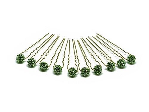 10 x Haarschmuck Strass Kugel - auf goldenen Haarnadeln   PS-HG-Grün