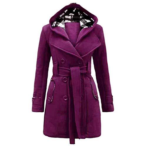 Auifor Damen stylischer Herbst Winter Mantel Jacke Kapuze Winterjacke,Taschen ausgestellten Rock windjacken Wintermantel mit gürtel (F-Lila,XXX-Large)