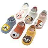 Pro1rise 6 Pairs Baby Non Slip Grip Cotton Animal Ankle Socks with Non Skid Soles for Newborn Toddler Boy Girl, 18 Months