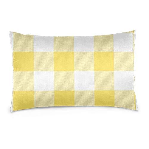 Lesif Fundas de cojín de terciopelo rectangulares, fundas de almohada decorativas suaves para sofá, dormitorio, coche, 40,6 x 60,9 cm (cuadros de búfalo amarillo y blanco rústico)