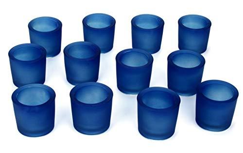 Nona 12er Set 6 cm Teelichtglas Glas Farbe Blau Kerzenglas Windlicht Kerzengläser