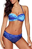 Dokotoo Bikini Damen Set Push Up Neckholder Bandeau Bademode Badebekleidung Strand Badeanzug mit Boardshorts Blau XL (EU48-EU50)