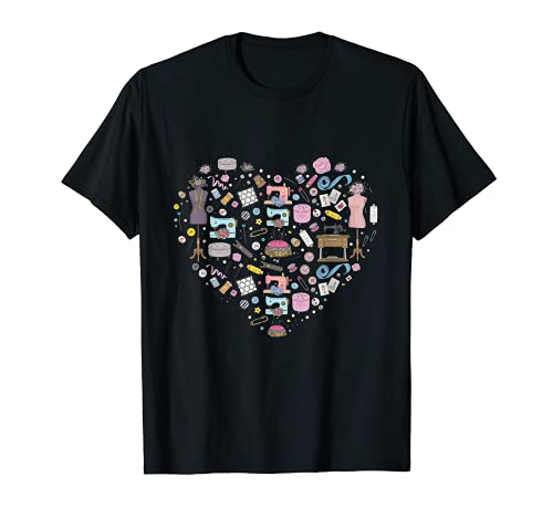 Sewing Quilting Machine Quilters Gift For Sewing Lover heart T-Shirt