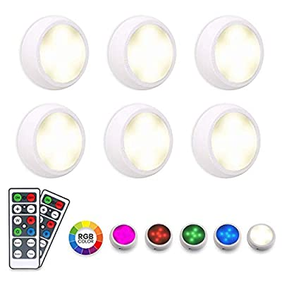 LED Closet Lights Puck Lights with Remote - RGB 16 Colors [6 Pack with 2 Remote] by PeakPlus - Color Changing Battery Powered / USB Wireless Dimmable Stick On Lights for Kitchen, Under Cabinet, Night