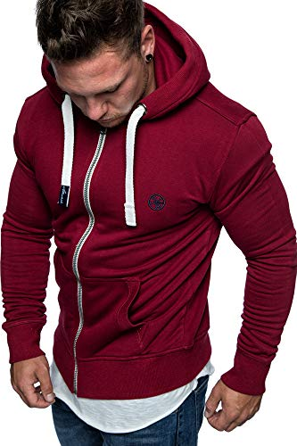 Amaci&Sons Herren Zipper Kapuzenpullover Sweatjacke Pullover Hoodie Sweatshirt 1-04029 Bordeaux L