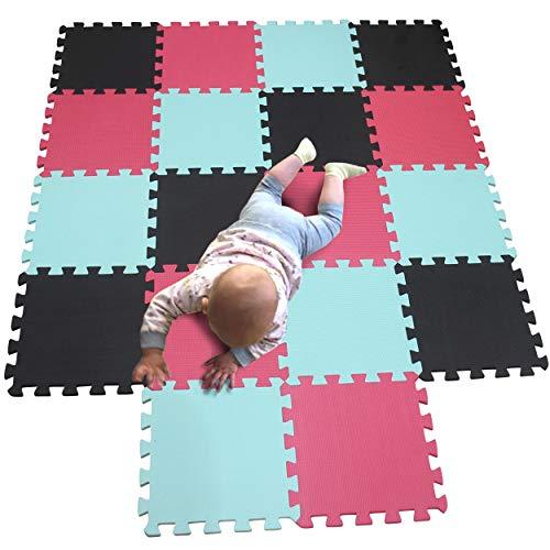 MQIAOHAM Esterilla Puzzle de Fitness-18 losas de EVA Espuma Alfombrilla Protección para el Suelo para máquinas Deporte y gimnasios sobre el Piso Fácil de Limpiar Negro Verde Rojo 104108109