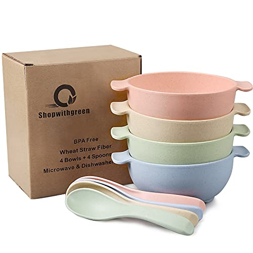shopwithgreen Unbreakable Kids Bowls -Microwave Dishwasher Safe- Wheat Straw Snack Bowl Sets for Kids/Toddler/Children/Baby Feeding - 4 Bowls and 4 Spoons, Lightweight and Durable (Small)