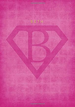 Personalized Name Notebook for BETH with Superhero Logo Cover (Pink): A Cute Lined Journal / Composition Book for Women and Teen Girls (7x10 Inches)