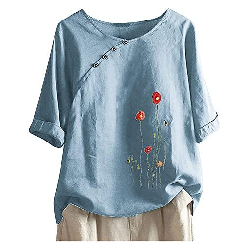 Briskorry T-shirt dames oversized korte mouwen linnen blouse elegant paardenbloem print shirt blouse linnen V-hals longshirt bovenstuk tuniek losse lange tops casual ronde hals hemd blouse top
