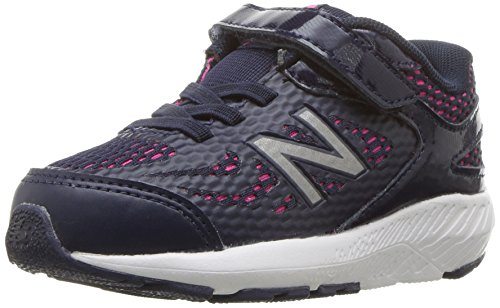 New Balance Girls' 519v1 Hook and Loop Running Shoe, Pigment/Pink glo, 12.5 M US Little Kid