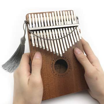 Xiaoplay Pulgar Carimba 17 Tonos con trémolo Dedo Cadena Piano Colgante Decorativo portátil de Madera Musical percusión Principiantes,A
