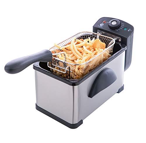 Family Care Freidora de 2 litros, desmontable, acero inoxidable, 2000 W, termostato ajustable hasta 190 ºC, piezas Fácil de Limpiar