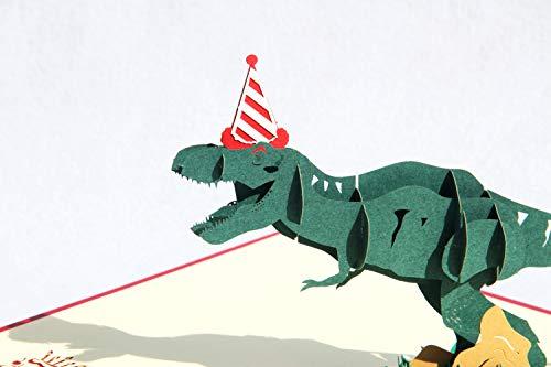 3D Geburtstagskarte dinosaurier Happy Birthday Dino 3D Pop Up Karte Grußkarten Glückwunschkarte Geschenkkarte zum Geburtstag Handgefertigte Klappkarte mit Umschlag (Stil 1)