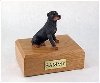GENUINE North American Hardwood and Rottweiler Sitting Dog Figurine Urn Large