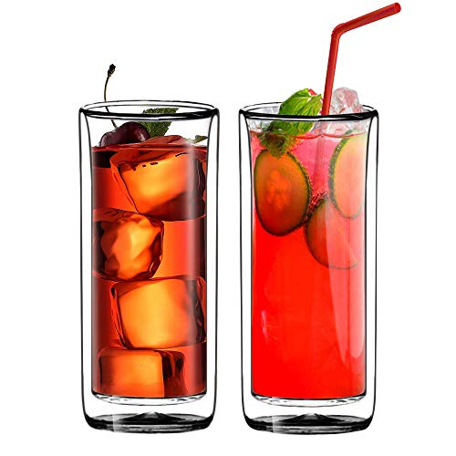 Sun's Tea (Set of 2) 20oz (600ml) Ultra Clear Strong Double Wall Insulated Thermo Glass Tumbler V3 Highball Glass for Beer/cocktail/lemonade/iced Tea (Real Borosilicate Glass, Not Plastic)