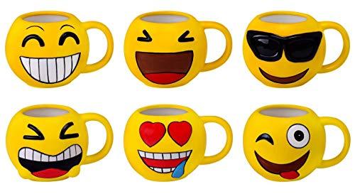 DISOK Lote 16 Tazas Emoticonos - Regalos de Comuniones Niños/Niñas - Tazas Emojis, Emoticonos para Niños, Infantiles, Juveniles. Mugs Desayuno para Regalos y Detalles de Bodas, Bautizos, Comun