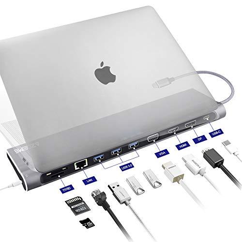 HUB USB C Adaptador 12 en 1, 4K HDMI/VGA/DP/USB 3.0/Tipo C/Tarjeta SD/Tarjeta TF/Ethernet RJ45│Concentrador Multipuerto para MacBook,Mac Pro,Chromebook,Windows Lenovo,Xiaomi,DELL