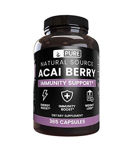 Acai Berry Extract, 365 Capsules, 3-Month Supply, No Magnesium Filler, Potent Antioxidant, Gluten-Free, USA-Made, 1800 mg of Acai Berry Extract per Serving