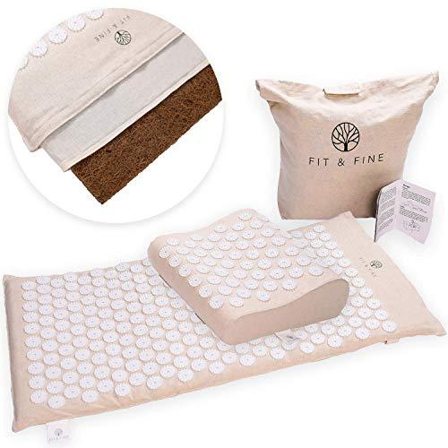 FIT & FINE Akupressurmatte (88x44x2cm) mit ergonomischem Kissen - extra-lange Massage-Matte aus Kokosfaser zur Entspannung von Rücken & Nacken