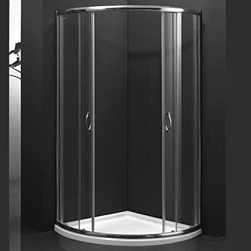 MarinelliGroup - Box Doccia semicircolare 90x90 con Due Ante scorrevoli Vetro Cristallo 8mm. Abete