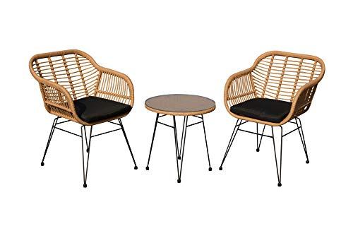 animal-design Gartenmöbel 3er-Set Sitzgruppe LIVE Loungemöbel inkl. Kissen Balkon Terrasse Sessel Stuhl Polyrattan, Farbe:beige