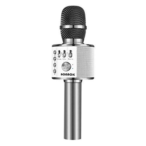 BONAOK Karaoke Mikrofon, 3 in 1 Kabelloses Bluetooth Mikrofon, Kinder Mikrofon Lautsprecher Maschine, Tragbares KTV Mikrofon für zu Hause, Kompatibel mit IOS Android Bluetooth Geräten(Space Gray)