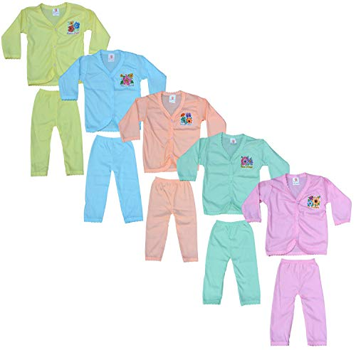 Eazy Trendz Baby Boy's and Baby Girl's Fashion Thinnest PU Feel of Floral Printed Knee-Length Button Full Sleeve A-line Top and Knee-Length Bottom (Multicolour, Age 0 to 12 Months) – Set of 5