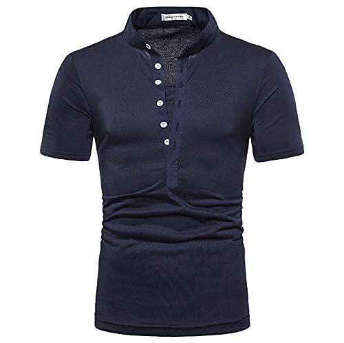 Camisa Henley Hombres Slim Fit Stretch Hombres Manga Corta Verano Color Sólido Cuello En V Botón Tapeta Hombres Camiseta Negocios Casual Hombres Polo Camisa B-Blue XXL