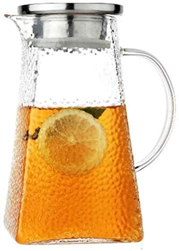 Tetera de cristal con recipiente de cristal, jarra de agua, botella de agua, jarra de agua con tapa, jarra de zumo, jarra de cristal, jarra antiestallido, jarra de té, vertedor (tamaño: 1500 ml)
