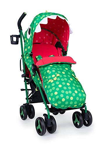 Cosatto Supa 3 Pushchair – Lightweight Stroller from Birth to 25kg | Compact Fold, Large Shopping Basket, Footmuff (Dino Mighty)