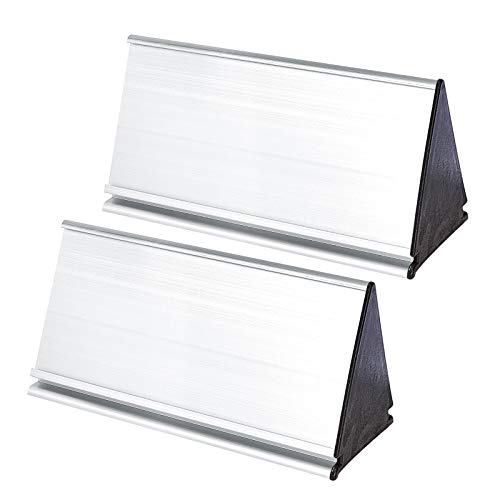 NBEADS 1 Juego de Soporte de Placa de Nombre de Metal, Soporte de Exhibición de Nombre Plateado de Aleación de Aluminio Triangular de Doble Cara de 8.4x20 cm para la Fabricación de Placas