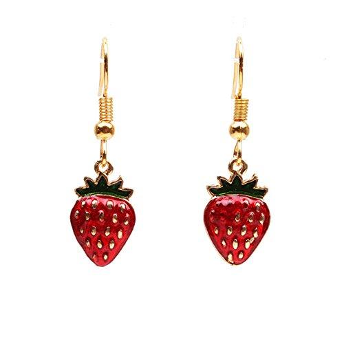 Orecchini pendenti lunghi placcati in oro 18 carati con frutto rosso e fragola