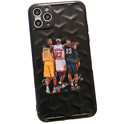 TXWL Kobe Jordan James - Funda para iPhone 7/8 Plus X/XR XS Max 11 Pro Max 12 Pro Max/12 Mini (todos los modelos), diseño retro de baloncesto PlayerTheme Drop Protection Case negro-7 Plus