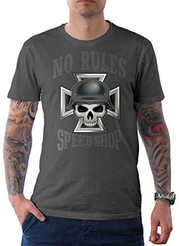 Rebel on Wheels heren t-shirt Tee No Rules Speed Shop Skull Schedel Bike Biker Motorfiets