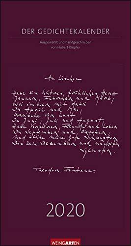 Gedichtekalender von Hubert Klöpfer - Kalender 2020 - Weingarten-Verlag - Kalender mit 24 kalligrafierten Gedichten - 24 cm x 45 cm