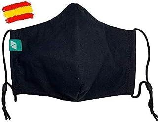 Mascarilla negra higiénica homologada UNE 0065 adulto T-M con filtro fijo lavable_marca: Brissa España