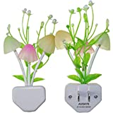2-Pack Night Lights 7 Color Changing w/Dusk to Dawn Sensor LED NightLight Mushroom Lamp,AUSAYE 0.6W Plug-in LED Lamp Auto On/off Night Light for Kids Children Baby Adults Mother