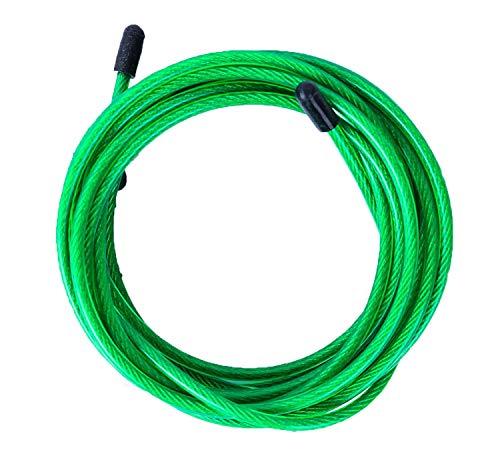 Cable de Repuesto para Comba de Saltar de Crossfit, Fitness y Boxeo. Ideal para Saltos Dobles | PVC Verde y Acero de 4 mm para Vrope Earth by VELITES