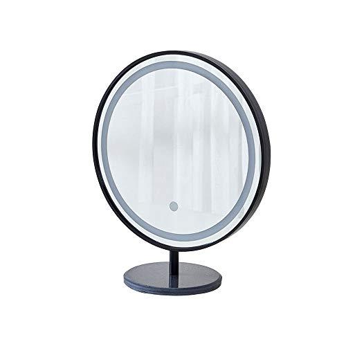 Bathroom mirror Espejo de baño Inteligente led, Espejo de Maquillaje Rojo Neto con luz, Espejo de Pared para baño, Espejo Redondo para baño, Espejo para baño Redondo (Negro/Dorado)